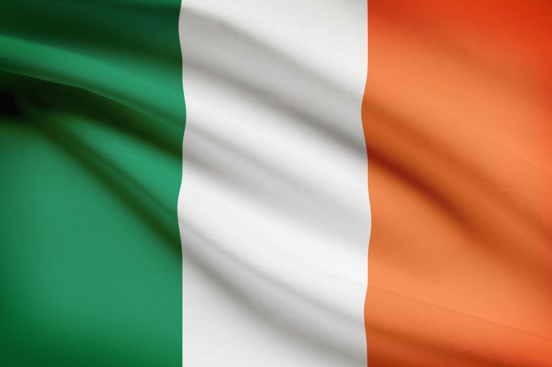 'Irish flag blowing in the wind. Part of a series.' - Ireland